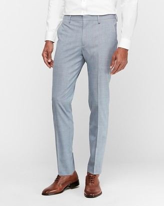 Express Extra Slim Light Blue Plaid Wrinkle-Resistant Stretch Suit Pant