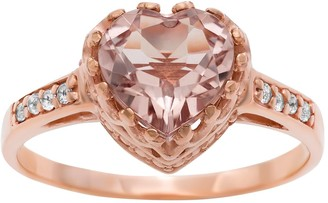 Tiara 14k Rose Gold Over Silver Simulated Morganite and Lab-Created White Sapphire Heart Crown Ring