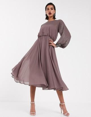 Asos Design DESIGN midi dress with linear yoke embellishment