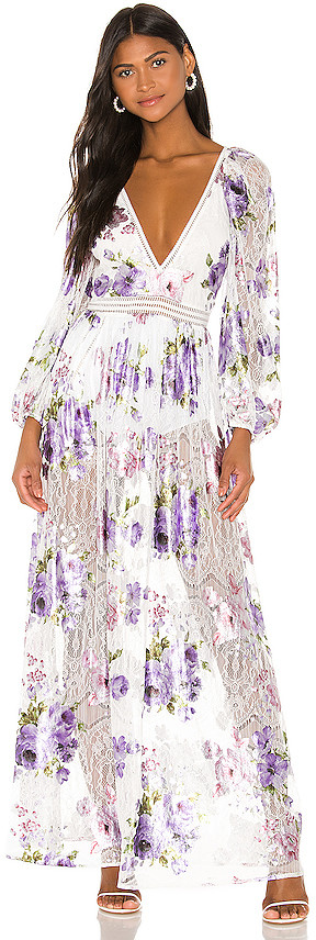 For Love & Lemons Wildflower Foil Lace Maxi Dress