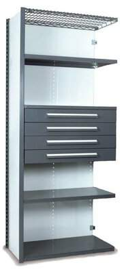 """Equipto V-Grip 84"""" Shelving with Drawers Unit - 4Drw/5Shelf Closed AddOn, 4 drawers - (4) 4.5"""" H; 400 lb capacity Equipto Finish: Smooth Gray, Size: 84"""" H x 4"""