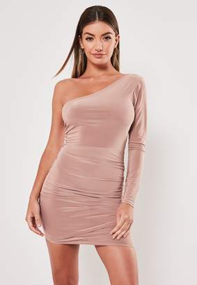 Missguided Nude Slinky One Shoulder Drape Bodycon Mini Dress