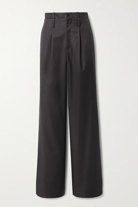 Commission Pleated Wool-twill Straight-leg Pants - Dark gray