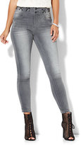 New York & Co. Soho Jeans - Jennifer Hudson Lace-Up Curvy Legging - Soft Rock Grey Wash