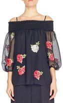 Blugirl Chiffon Blouse Rose Embroidery