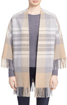 Helene Berman Fringe Plaid Open Front Wrap