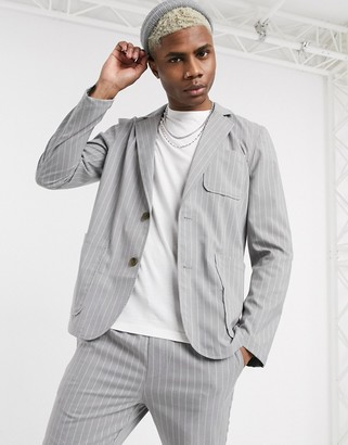 Asos DESIGN two-piece casual blazer with square pockets in gray pinstripe