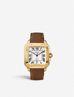 Cartier CRWGSA0042 Santos 18ct yellow-gold and sapphire watch