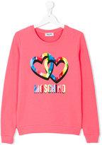 Moschino Kids Teen logo and hearts print sweatshirt