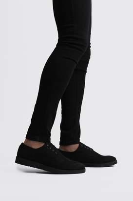 BoohoomanBoohooMAN Mens Black Faux Leather Crepe Sole Lace Up, Black