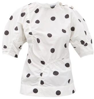 Ganni Gathered Polka-dot Poplin Top - White Multi