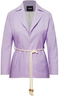 Belted Organic Cotton & Linen-Blend Blazer