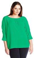 Calvin Klein Women's Plus-Size Three Quarter-Sleeve Crew-Neck Blouse
