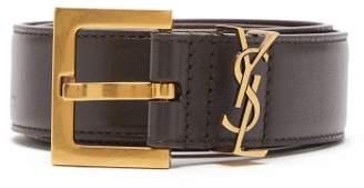 Saint Laurent Logo-plaque Leather Belt - Womens - Brown