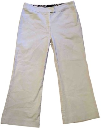 Burberry White Cotton Trousers