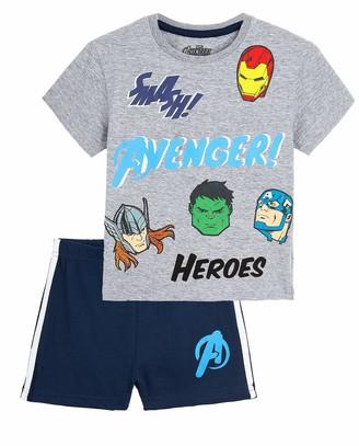 Marvel Boys Pyjamas Avengers Boys Short Pyjamas with Captain America Iron Man Thor Hulk and Spiderman 2 Piece PJs Set Top and Boys Shorts