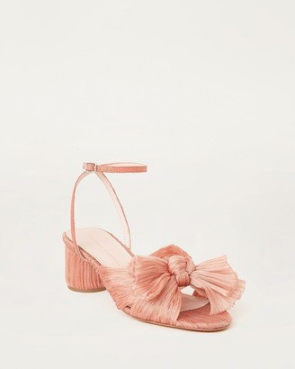 Loeffler Randall Dahlia Bow Low Heel with Ankle Strap Pink