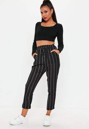 Missguided Petite Black Stripe Elasticated Slim Leg Trousers