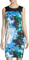 T Tahari Dakota Sleeveless Floral-Print Scuba Dress, Voyage