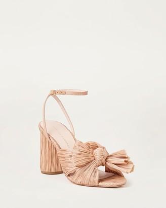 Loeffler Randall Camellia Bow Ankle Strap Heel Dune