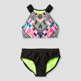 Xhilaration Girls' High Neck Tribal Bikini Black