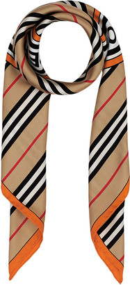 Burberry Stripe Circle Logo Silk Scarf