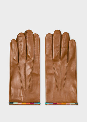 Paul Smith Men's Tan Leather Gloves With 'Artist Stripe' Trims