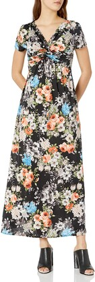 Star Vixen Women's Petite Short Sleeve Twist-Front Maxi