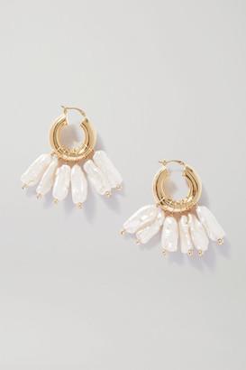 Eliou Pippa Gold-plated Pearl Hoop Earrings