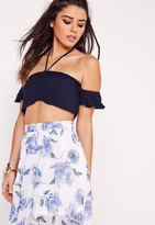 Missguided Cheesecloth Bardot Halter Crop Top Navy