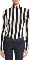 Nina Ricci Striped Turtleneck Bodysuit, Black/White