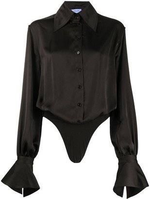 Thierry Mugler Pointed Collar Long Sleeve Shirt