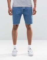 Asos Denim Shorts In Slim Blue With Raw Hem