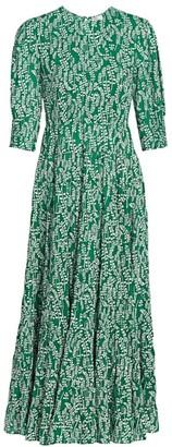 Rixo Kirsten Printed Cotton & Silk Midi Dress