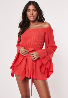 Missguided Red Flared Sleeve Playsuit