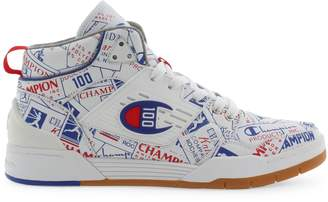 Champion Printed Lace-Up Leather Sneakers
