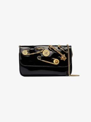 Versace Black Safety Pin Patent Leather Clutch Bag