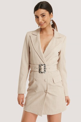 NA-KD Big Belted Blazer Dress
