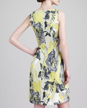 Lela Rose Floral Jacquard Boat-Neck Dress