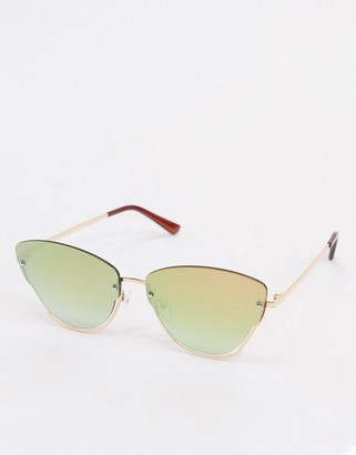 Jeepers Peepers butterfly sunglasses in gold with lens cut out detail