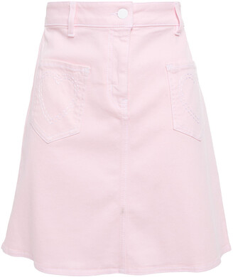 Love Moschino Embroidered Cotton-blend Pique Mini Skirt