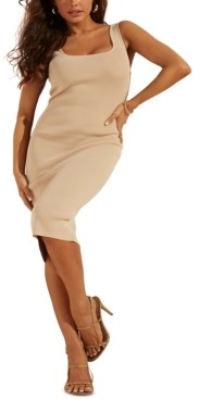 GUESS Square-Neckline Fitted Ribbed Dress
