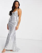 Thumbnail for your product : Club L London Club L low back sequin cami maxi dress with fishtail in silver