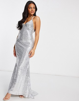 Club L London Club L low-back sequin cami maxi dress with fishtail in silver