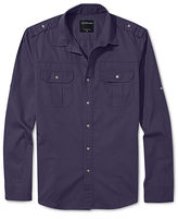Calvin Klein Jeans Long Sleeve Shirt, Military Solid Twill