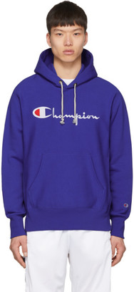 Champion Reverse Weave Blue Script Logo Hoodie