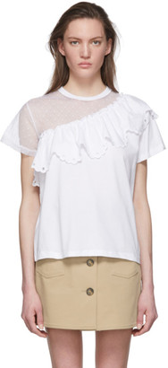 RED Valentino White Mesh Asymmetrical T-Shirt