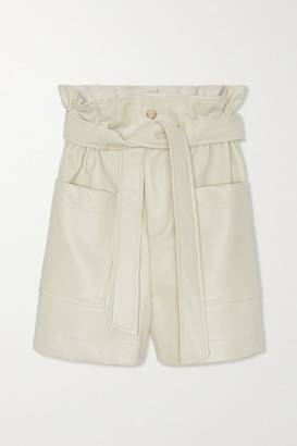 Frankie Shop Alex Belted Faux Leather Shorts - Off-white