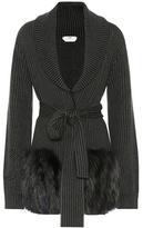 Fendi Fur-trimmed wool-blend cardigan