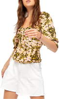 Free People Sweet Memories Floral Fitted Blouse
